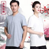 时尚POLO太极短袖夏季纯棉练功单件服装男女武术纯色文化衫
