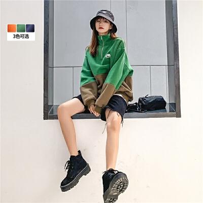 七格格polo领卫衣女2019冬季新款潮韩版bf宽松慵懒风加绒加厚外套