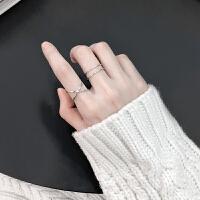 简约几何开口戒银戒指女日韩潮人学生个性食指戒指环女