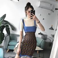春夏新款女装短袖打底针织衫+撞色木耳边针织吊带连衣裙学生套装