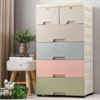 抽屉式收纳柜收纳箱塑料柜 儿童宝宝衣柜衣物多层整理柜子储物柜 58宽 混色