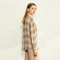【到手价:126元】Amii极简法式时尚格子衬衫2020春季新款设计感小众百搭长袖上衣女