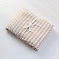 天竺棉被套单件纯棉 1.5m床单人1.8m床双人180x220被罩学生宿舍 米褐色 米棕中条 彩棉款