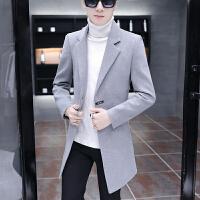 毛呢大衣男中长款冬季男士呢子外套羊毛妮子加厚韩版帅气风衣男装 灰色 M