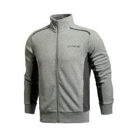 李宁LINING训练系列舒适男装  罗纹收口标准开衫运动卫衣AWDJ395