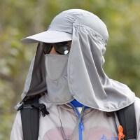 徒步钓鱼防晒头套面罩防蚊户外男士遮脸太阳冒遮阳帽子女登山运动SN2047 可调节