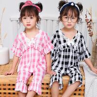 春秋季儿童女童棉绸睡衣夏季薄款小孩公主长袖宝宝绵绸家居服套装