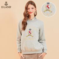【到手价:299元】ELAND秋冬新款英伦刺绣温暖薄绒圆领卫衣EEMT94CC5C