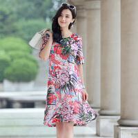 真丝连衣裙2017年夏季优雅韩版圆领中长款修身显瘦潮流中长款 图片色