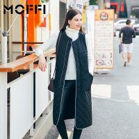 秋冬新款欧美风中长款黑色显瘦夹棉女式时尚马甲 黑色
