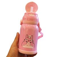 卡通可爱儿童吸管保温杯304不锈钢婴儿真空保温水瓶 宝宝便携水杯 粉色背带380ml+备用吸嘴+吸管 猪猪背带款