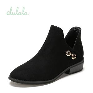 shoebox鞋柜冬杜拉拉时尚粗跟短靴女金属扣绒面靴