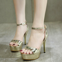 超高跟鞋一字扣带细跟性感露趾凉鞋女夏韩版夜店12cm高防水台女鞋