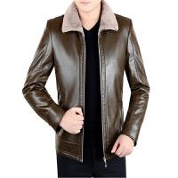 冬季新款中年男士真皮皮衣皮毛一体加绒休闲装绵羊皮夹克外套
