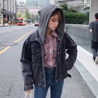秋冬女装2017新款韩版宽松百搭连帽牛仔外套短款夹克长袖上衣学生