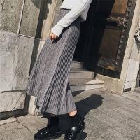 百褶裙2017年冬季中长款A型半身裙条纹涤纶其他通勤高腰 均码