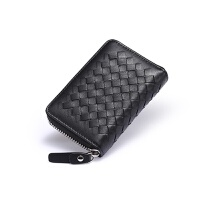 风琴卡包男 多卡位*夹卡片包 女大容量多功能小巧零钱包 黑色 编织