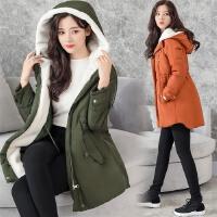 棉衣女中长款2017新款冬季宽松大码连帽纯色加绒加厚保暖外套
