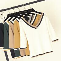 秋季韩版露背拼色V领冰丝中袖针织衫女五分袖修身半袖打底衫上衣