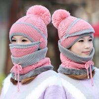 帽子女冬天韩版加厚针织保暖帽口罩防风围脖秋冬季骑车护耳毛线帽