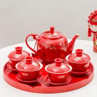 结婚庆新人敬茶壶敬茶杯套装盖碗泡茶壶喜庆陶瓷茶壶中式婚礼嫁妆