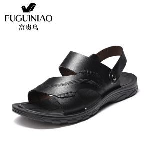 富贵鸟(FUGUINIAO)男鞋夏季新款头层牛皮男凉鞋灵活两用后跟带平底沙滩鞋
