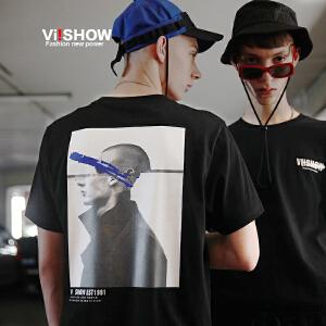 VIISHOW2018新款短袖T恤夏季潮流黑色纯棉圆领体恤男士印花上衣