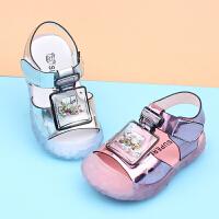 夏季新女宝宝学步鞋小童凉鞋1-2-3岁婴幼儿凉鞋包头亮皮公主童鞋