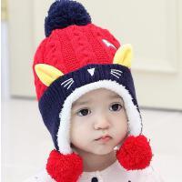宝宝帽子秋冬6-个月加绒女护耳帽1-2岁儿童针织毛线帽婴儿帽男