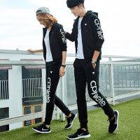 新款女卫衣情侣大码运动套装 男士休闲三件套跑步运动服 韩版连帽开衫运动套装