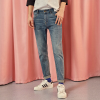 A21男士新款牛仔裤男修身弹力裤子男小脚裤帅气潮流时尚个性男裤