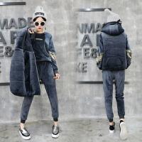 冬季新款加绒卫衣马甲套装女时尚韩版加厚运动三件套装