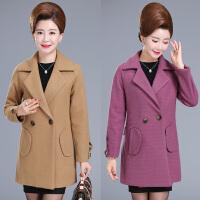 妈妈秋季外套40-50岁中年人妇女冬装毛呢外套女中老年呢子大衣女