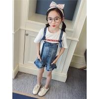 女童牛仔背带短裤2018新款儿童夏季短裤韩版宽松吊带裤潮