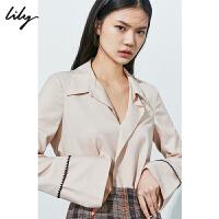 Lily秋新款气质亮丝宽松喇叭袖中长款羊毛衬衫女119340C4259