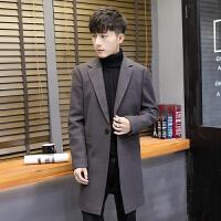 冬季风衣男士中长款韩版加棉加厚呢子外套春秋帅气学生毛呢大衣潮