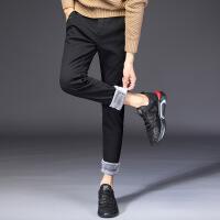 秋冬男士加绒休闲裤纯色修身小脚裤男冬季加厚弹力青年运动男裤子