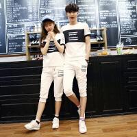 情侣装夏季男装班服运动套装七分裤韩版潮流夏装男士短袖T恤