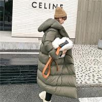 七格格羽绒服女中长款2019新款冬季过膝时尚加厚白鸭绒面包服外套