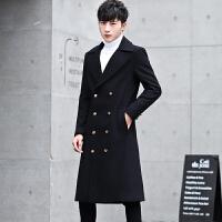 秋冬毛呢大衣男长款过膝羊毛风衣青年潮流韩版中长款学生妮子外套 黑色 M/5