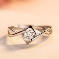 时尚心形镶钻戒指女日韩s925银简约钻戒指环情侣开口戒指