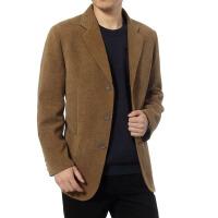 秋季新款男装中老年休闲条绒西装外套中年男士灯芯绒单件西服