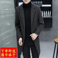 2018秋季新款秋季男士风衣2018新款毛呢大衣男中长款韩版修身帅气潮流外套男
