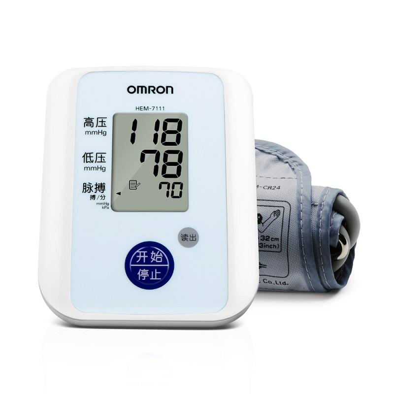 欧姆龙(OMRON)电子血压计 HEM-7111 家用上臂式 全自动加压,不规则脉波检测,送电源适配器