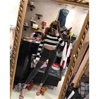 秋季牛仔小脚裤女式短款针织衫时尚韩版女装新款精品韩国长袖修身 套装