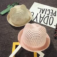 春夏婴儿帽子6-个月小礼帽男女宝宝凉帽儿童遮阳帽防晒韩版潮