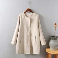 U4毛呢外套女韩版新款宽松中长款秋冬小个子学生茧型呢子大衣0.85