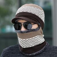 帽子男冬季保暖针织帽青年包头针织帽女连体帽子围脖一体冬天