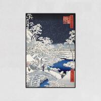 现代简约日式风格沙发背景墙壁装饰画和风客厅料理浮世绘挂画 70*100CM 优雅黑边框 成品(破损包赔)