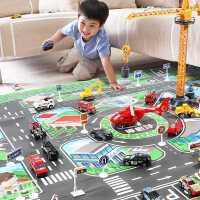 仿真合金小汽车套装玩具工程儿童男孩交通工具停车场城市模型吊车